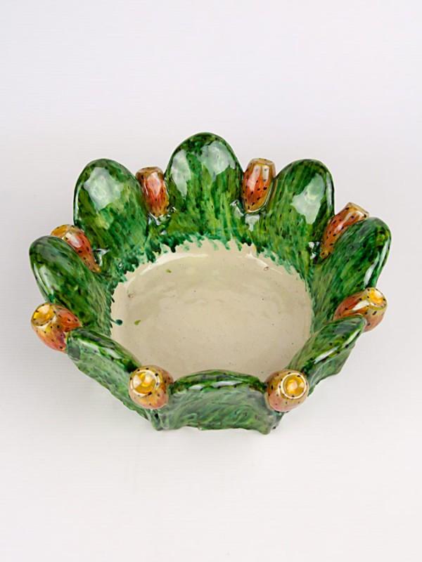 Centrotavola con fichi d'india (Ø 25) Centrotavola - CeramicArt Caltagirone
