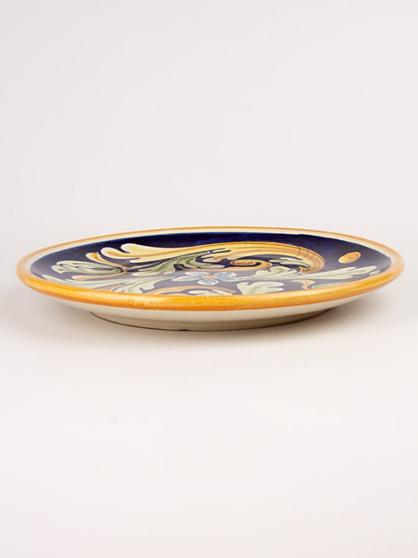 Piatto a disco con decoro ornato (Ø 25) Piatti Ornamentali - CeramicArt Caltagirone