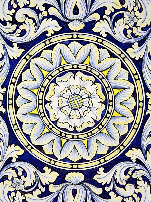 Piatto a disco con decoro ornato (Ø 40) Piatti Ornamentali - CeramicArt Caltagirone