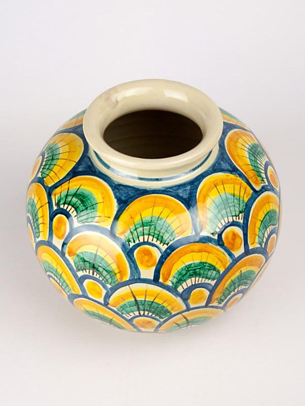 Vaso a palla con decoro a coda di pavone (H 20) Vasi - CeramicArt Caltagirone
