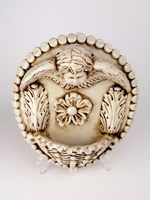 Acquasantiera con angelo (Tir. Limitata) (H 33) Acquasantiere - CeramicArt Caltagirone