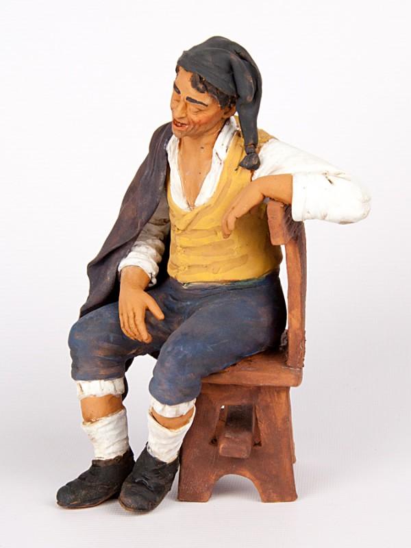 Dormiente su sedia (H 22) Sculture - CeramicArt Caltagirone