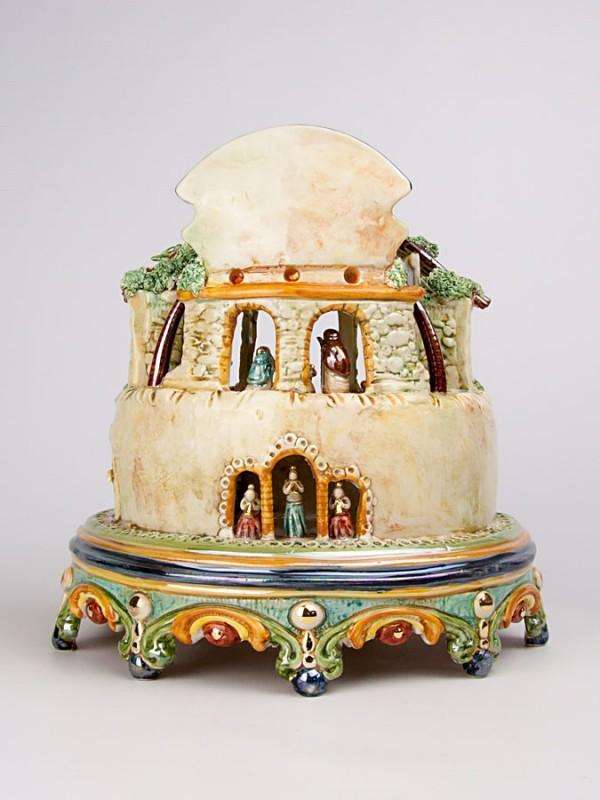 Presepe con lustri in madreperla e oro (H 29) Presepi - CeramicArt Caltagirone