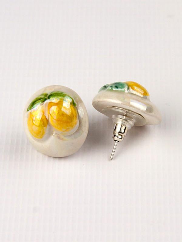 Orecchini a mezza sfera in maiolica con limoni a rilievo Bigiotteria - CeramicArt Caltagirone