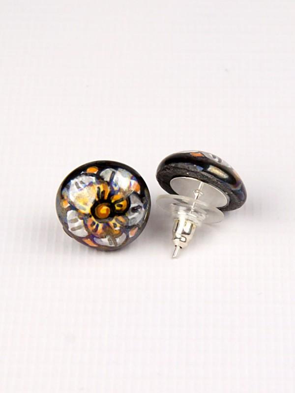 Orecchini a mezza sfera in maiolica con rosone giallo su fondo nero Bigiotteria - CeramicArt Caltagirone