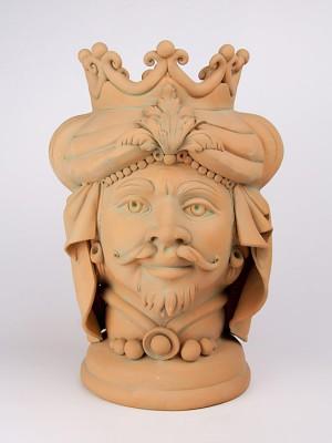 Testa porta pianta in terracotta figura maschile (H 40)