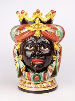Testa porta pianta figura uomo moro con corona e turbante (H 40)