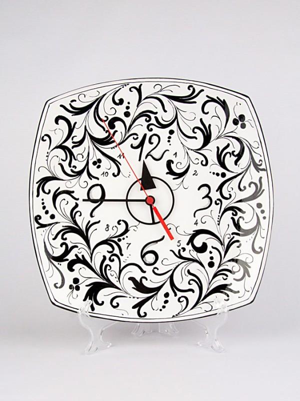 Orologio su piatto quadrato (H 30) Orologi - CeramicArt Caltagirone