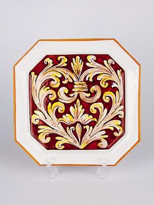 Piatto ottagonale con Ornato rubino (Ø 33)