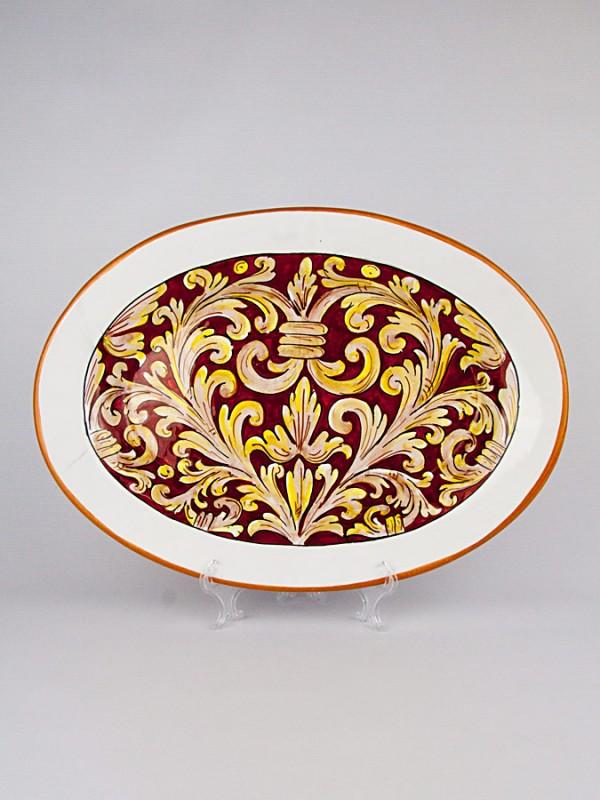 Piatto grande ovale con Ornato rubino (Ø 40) Per la Cucina - CeramicArt Caltagirone