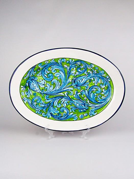 Piatto grande ovale con Ornato turchese (Ø 40)