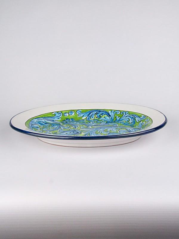 Piatto grande ovale con Ornato turchese (Ø 40) Piatti Ornamentali - CeramicArt Caltagirone