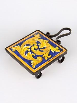 Poggia pentola supporto in ferro battuto con Ornato blu (Ø 11)
