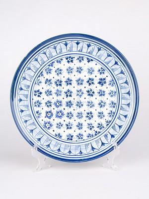Piatto ornamentale con decoro Floreale blu (Ø 30)