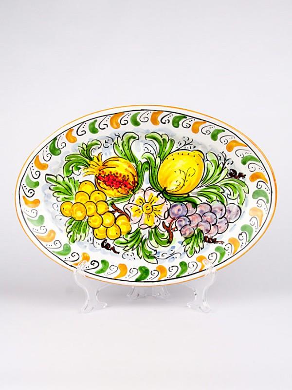 Piatti Ceramica Di Caltagirone.Ceramicart Le Ceramiche Di Caltagirone Piatto Ovale Con Decoro