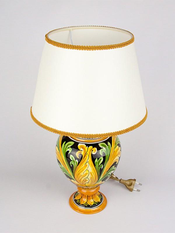Lume con decoro Ornato (H 43) Lumi - CeramicArt Caltagirone