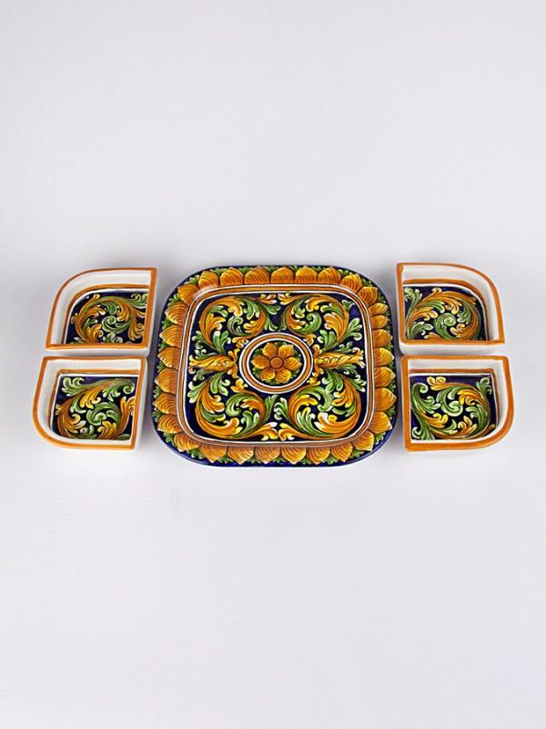 Antipastiera quadrata con 4 ciotole (Ø 31) Per la Cucina - CeramicArt Caltagirone