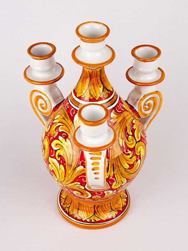 Candelabro a quattro luci (H 32) Lumiere e Candelabri - CeramicArt Caltagirone