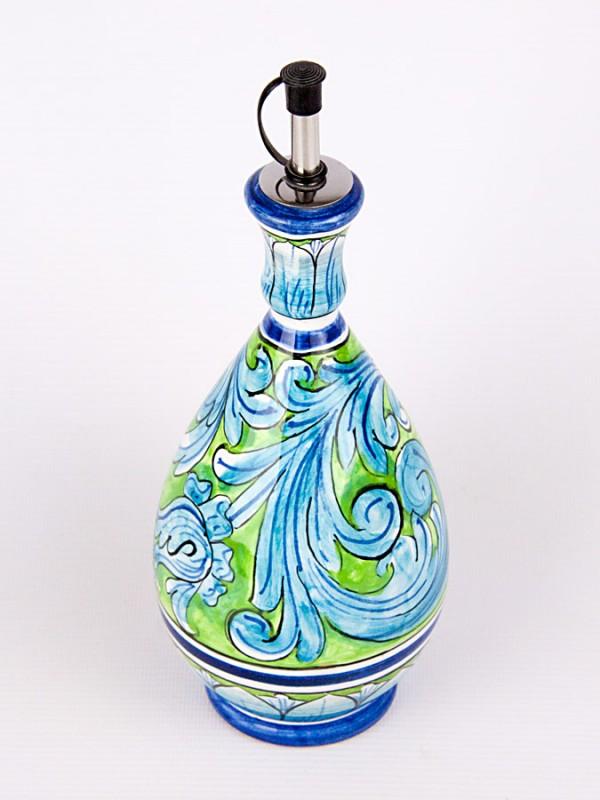 Bottiglia contenitore per olio o aceto (H 20) Per la Cucina - CeramicArt Caltagirone