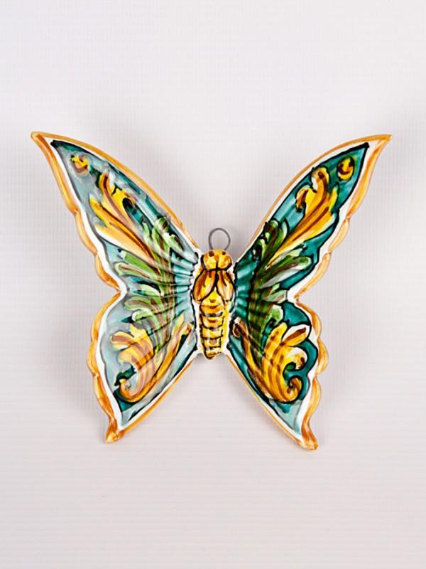 Farfalla con ornato verde (H 15) Oggettistica - CeramicArt Caltagirone