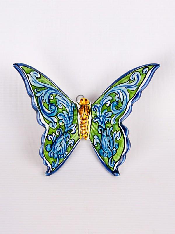 Farfalla con ornato turchese (H 15) Oggettistica - CeramicArt Caltagirone