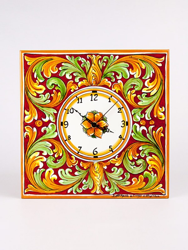 Orologio quadrato da parete (H 30) Orologi - CeramicArt Caltagirone