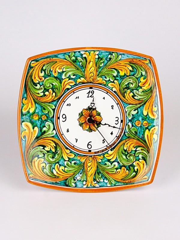 Orologio su piatto quadrato da parete (H 30) Orologi - CeramicArt Caltagirone