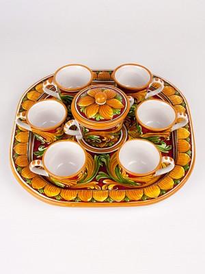 Servizio da caffè su vassoio per sei con zuccheriera (Ø 31)