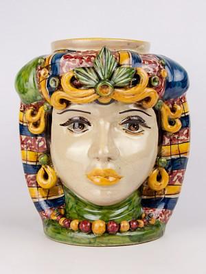 Testa porta vaso donna con ornamenti (H 34)