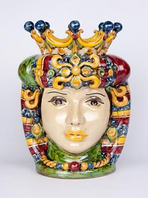 Testa porta pianta donna con corona (H 34)