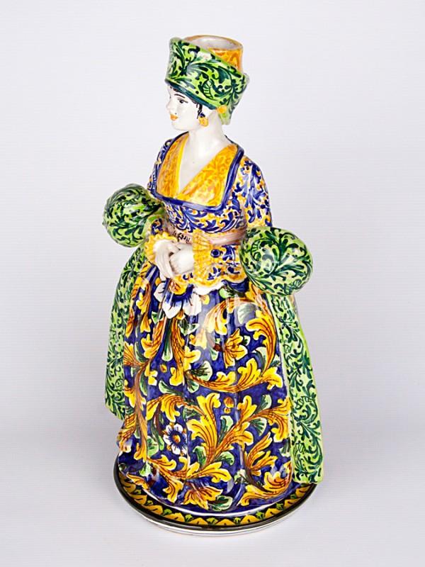 Lumiera donna con decoro ornato (H 40) Lumiere e Candelabri - CeramicArt Caltagirone