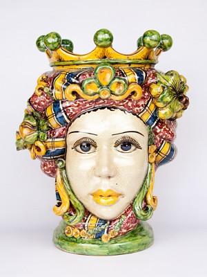 Testa porta pianta donna con corona e frutta (H 44)