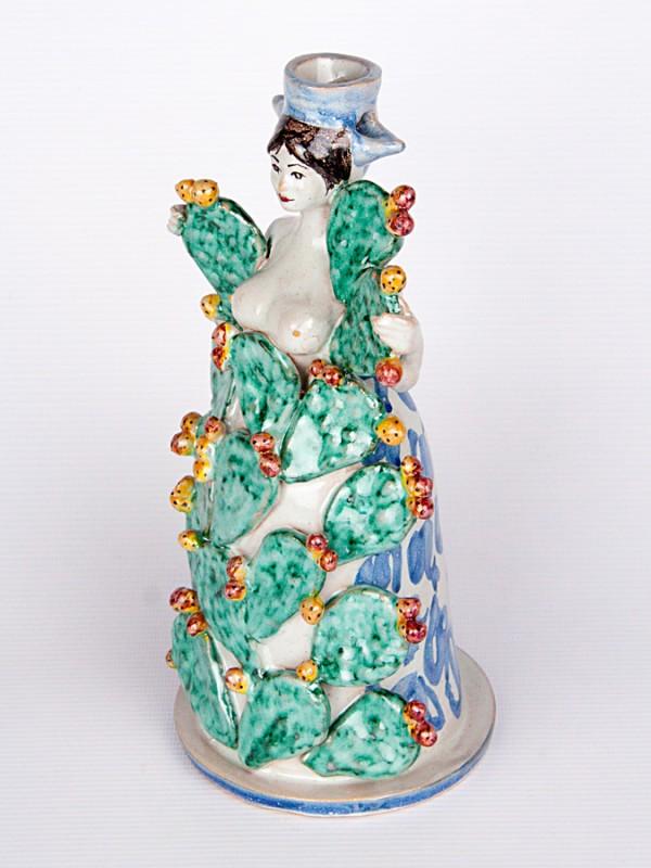 Lumiera donna adornata con piante di fico d india (H 40) Lumiere e Candelabri - CeramicArt Caltagirone
