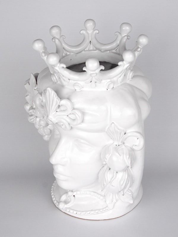 Testa porta pianta donna con corona e frutta (H 34) Teste porta piante - CeramicArt Caltagirone