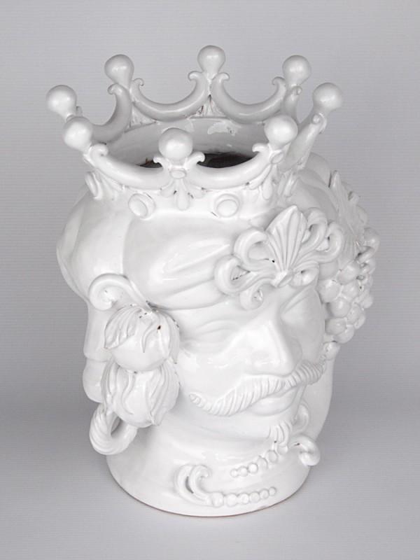 Testa porta pianta uomo con corona e frutta (H 34) Teste porta piante - CeramicArt Caltagirone