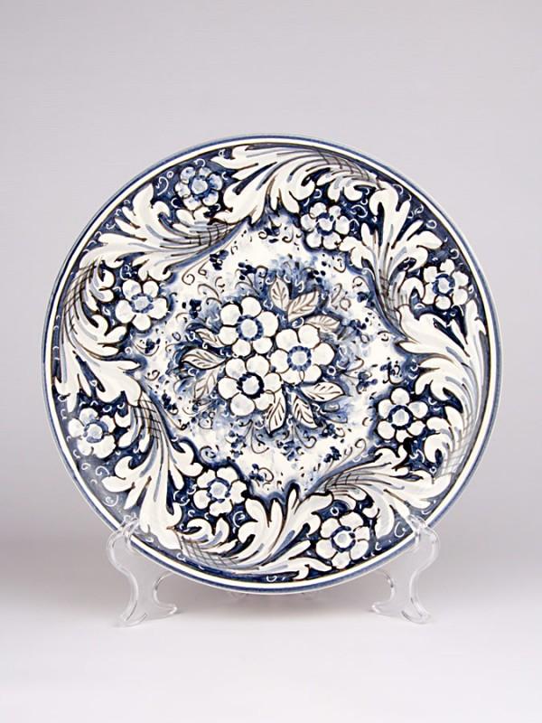 Piatto monocolore blu (Ø 30) Piatti Ornamentali - CeramicArt Caltagirone