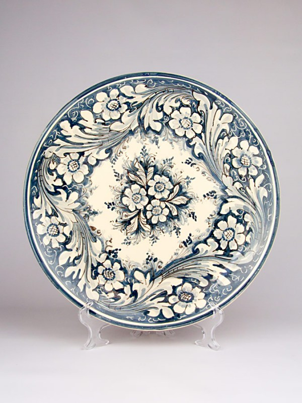 Piatto monocolore blu con decoro  600 (Ø 35) Piatti Ornamentali - CeramicArt Caltagirone