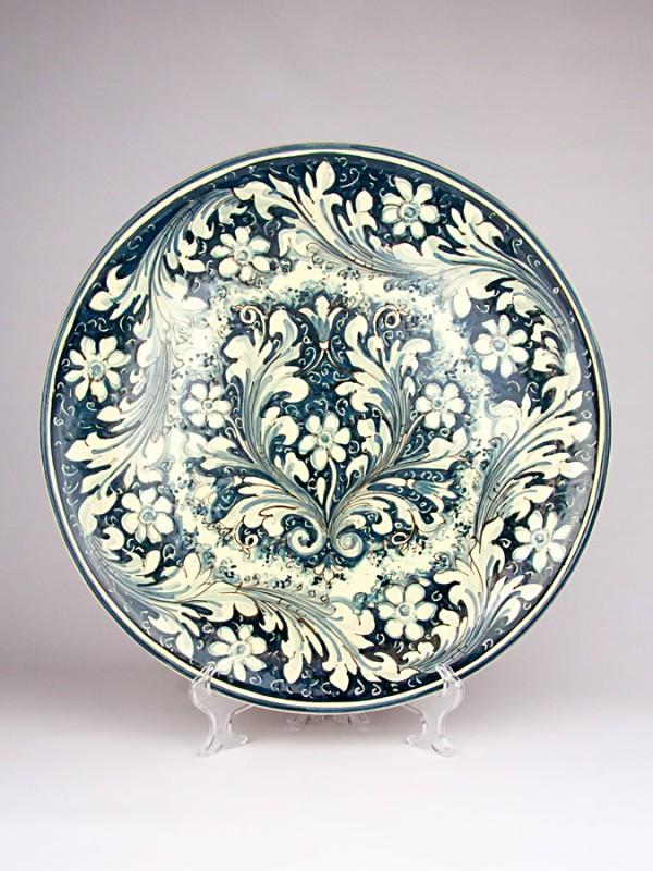 Piatto monocolore blu con decoro  600 (Ø 45) Piatti Ornamentali - CeramicArt Caltagirone