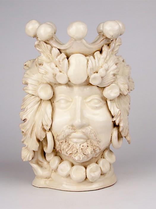 Testa porta pianta bianca uomo (H 30)