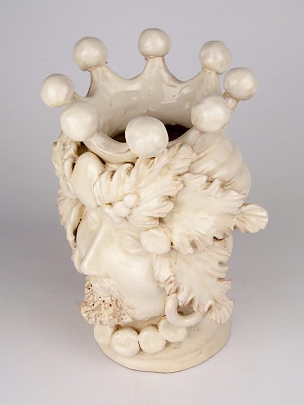 Testa porta pianta bianca uomo (H 30) Teste porta piante - CeramicArt Caltagirone