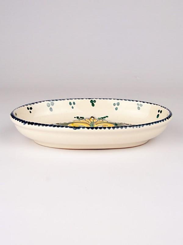 Piatto ovale con giglio (Ø 21) Per la Cucina - CeramicArt Caltagirone