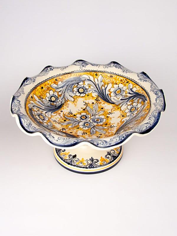 Centrotavola fruttiera smerlata con piede (Ø 36) Centrotavola - CeramicArt Caltagirone