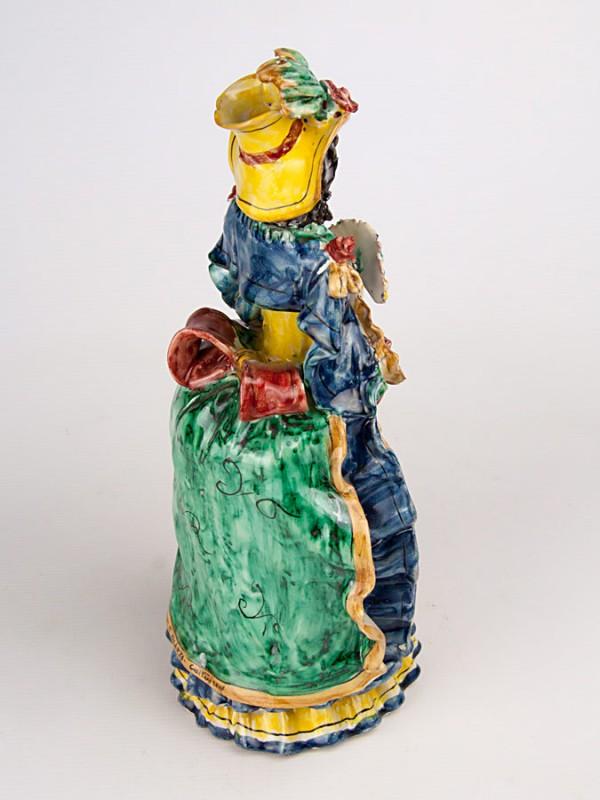 Lumiera donna con ventaglio (H 34) Lumiere e Candelabri - CeramicArt Caltagirone