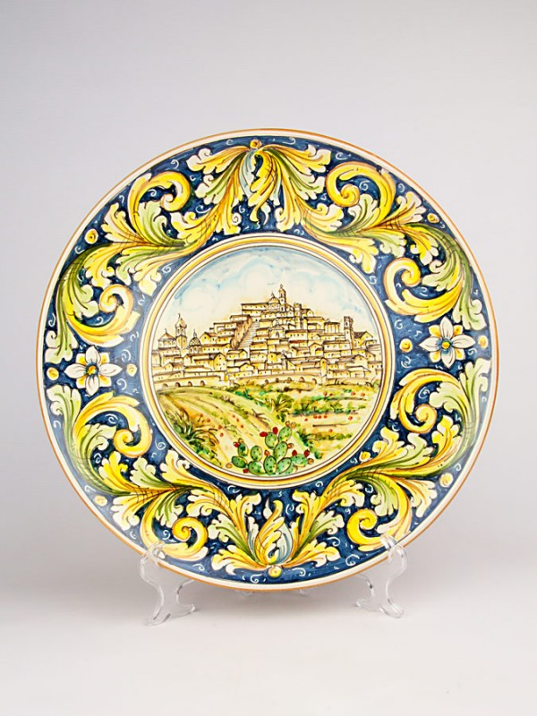 Piatto con paesaggio di Caltagirone (Ø 38) Piatti Ornamentali - CeramicArt Caltagirone