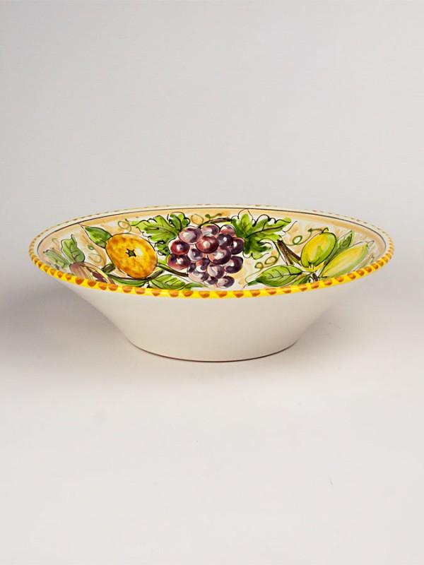 Ciotola al tornio con decoro frutta (Ø 35) Centrotavola - CeramicArt Caltagirone