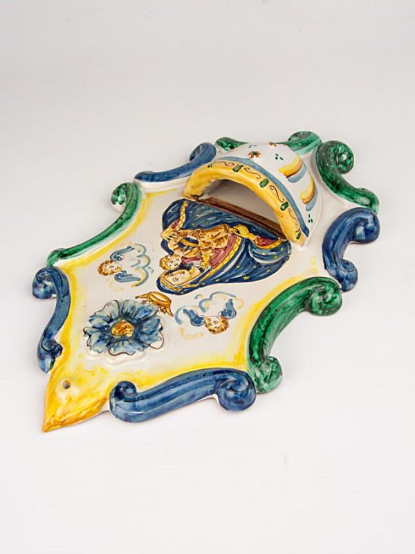 Acquasantiera con figura religiosa (H 32) Acquasantiere - CeramicArt Caltagirone