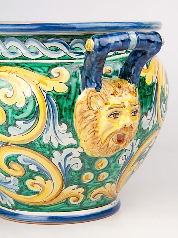 Porta pianta con teste di leone (Tir. Limitata) (Ø 35) Porta piante - CeramicArt Caltagirone