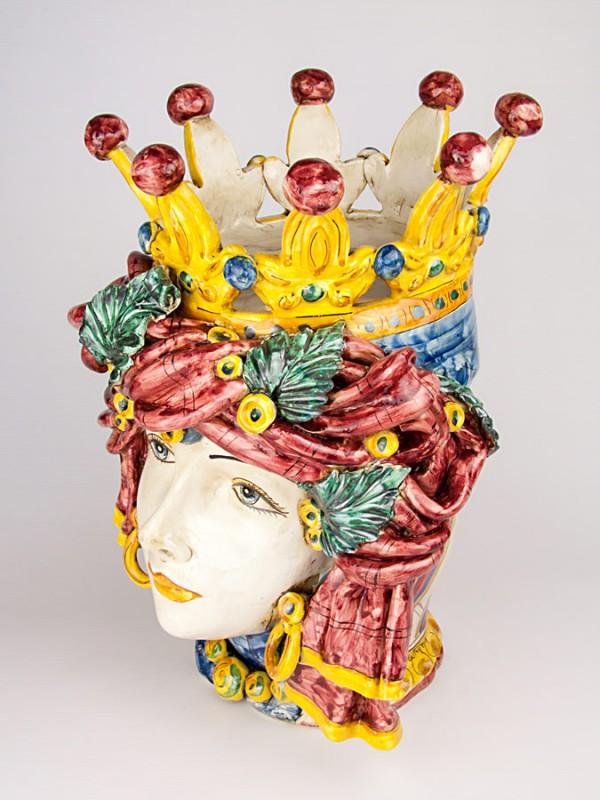 Testa porta pianta araba con turbante (H 45) Teste porta piante - CeramicArt Caltagirone