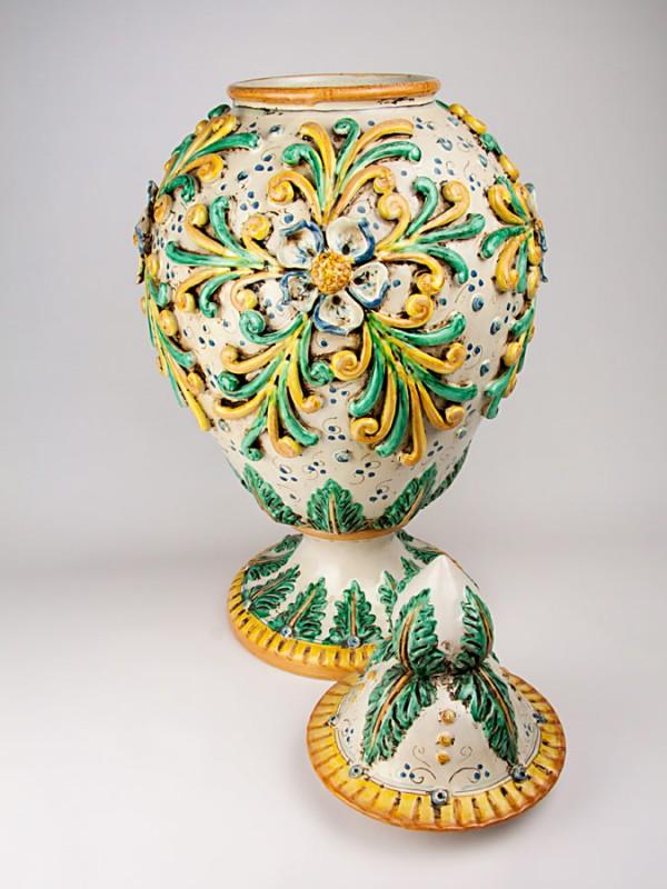 Vaso con decori a rilievo stile  800 (Tir. Limitata) (H 70) Vasi - CeramicArt Caltagirone