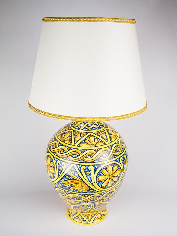 Lume con decoro Quartieri (H 78) Lumi - CeramicArt Caltagirone